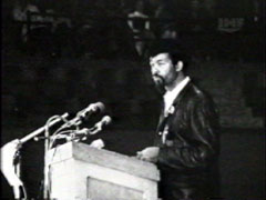 Cleaver speaking at a rally